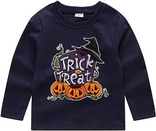 Fun1980s Toddler Boys' Girls Halloween Long-Sleeve Tees Pumpkin Face Halloween Costume Toddler/Infant Kids T-Shirt 18M-5T