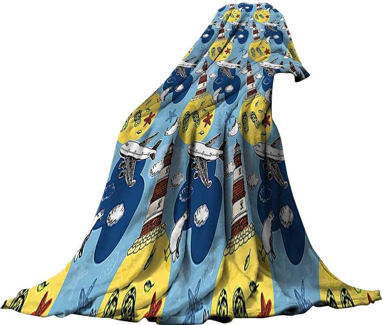 QINYAN-Home Digital Printing Blanket (80 x60 ) Summer Quilt Comforter Lighthouse Decor Travel Theme Artprint Lighthouse Seagulls Clouds Starfish Airplane Leaves Seashells Multi.
