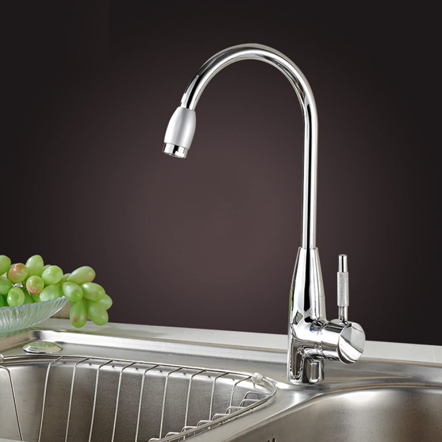 LD&P Kitchen taps mixer high pressure,Kitchen all bronze Household Cold and hot mixing Taps Faucet,chromium plating Can redate Single hole Wash the dishes basin Faucet