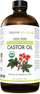 Organic Castor Oil (16oz Glass Bottle) USDA Certified Organic, 100% Pure, Cold Pressed, Hexane Free. Boost Hair Growth for...