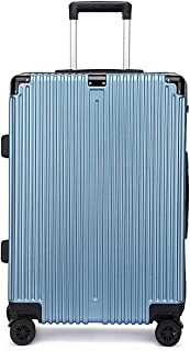 """Stylish and durable Wheels Travel Rolling Boarding,20"""" 22""""24"""" 26"""" Inch 100% Aluminium Spinner Aluminium Convenient Trolley Case,Super Storage Luggage Bag, high quality (Color : Blue, Size : 24inch)"""