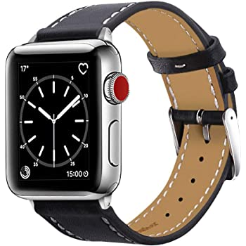 Marge Plus Compatible with Apple Watch Band 42mm 44mm, Genuine Leather Replacement Band Compatible with Apple Watch SE Series 6 5 4 (44mm) Series 3 2 1 (42mm), Black Band/Silver Adapter