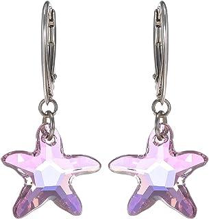 Crystal Diva Women's Silver Lilac Swarovski Elements Earrings