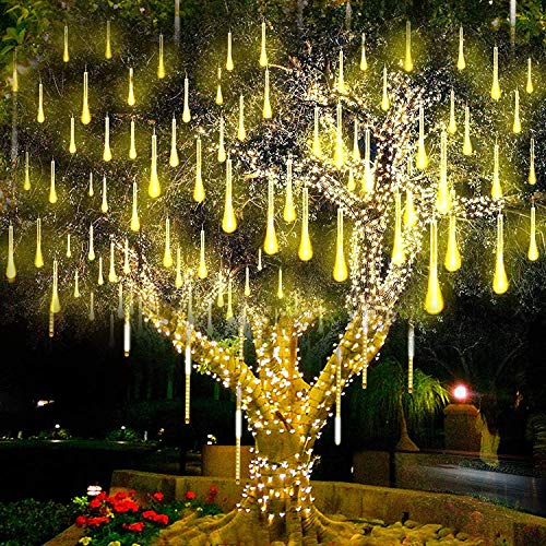 LED Meteor Shower Solar Lights Garden,KINGCOO Waterproof Falling Raindrop Cascading Decorative String Lights with 30cm 10 Tubes 360LEDs for Holiday Party Wedding Christmas Tree Decoration (Warm White)