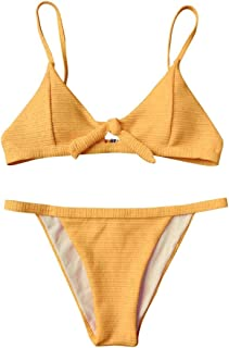 Women Knotted Padded Thong Bikini, Mid Waisted Scoop Swimsuit Beach Swimwear