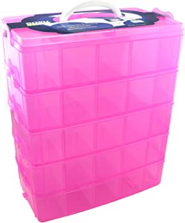 Gosu Toys Stackable Storage Container Case - 50 Adjustable Compartments - Compatible with Doorables, Legos, Shopkins, Littlest Pet Shop, Hatchimals, Grossery Gang, Twozies, Hot Wheels, and More!