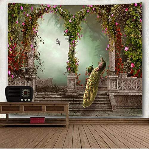 N/A Tapices 3D Impresión Hermoso jardín Pavo Real Arco Imagen Mandala Tapiz para Colgar en la Pared Bosque psicodélico Vintage Sofá Europeo Manta Alfombra de Pared Regalo Estera de Picnic