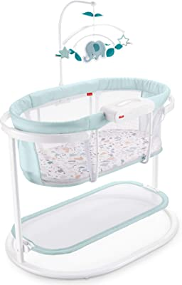 Fisher-Price Soothing Motions Bassinet, Pacific Pebble, Baby Bassinet with Soothing Lights, Music, Vibrations, & Motion, Multi
