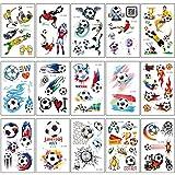 SZSMART Fußball Tattoos Set, Temporäre Tattoos für Kinder, Temporäre Tätowierungen Sticker Aufkleber für MädchenJungen Kinder Kindergeburtstag Fußball Party zubehör Geschenk