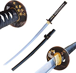 W K Sales Mountain Samurai Warrior Handmade Katana Live High Carbon Steel Sword Wood Scabbard Steel Tsuba