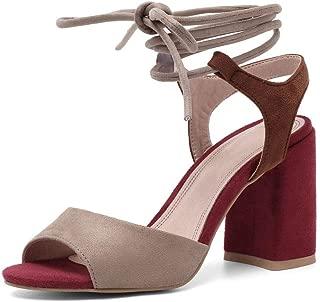JF shoes Women's Summer T-Shaped Wood-Tone Buckle Block Suede Open Toe Heel Pump Sandals