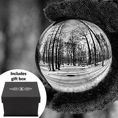 Klare Kristallkugel | 80mm K9 Glaslinse Foto Kugel | Inklusive kostenloser Geschenkbox und Stand | Für Fotografie, Dekoration, Meditation | Ideale Geschenkidee