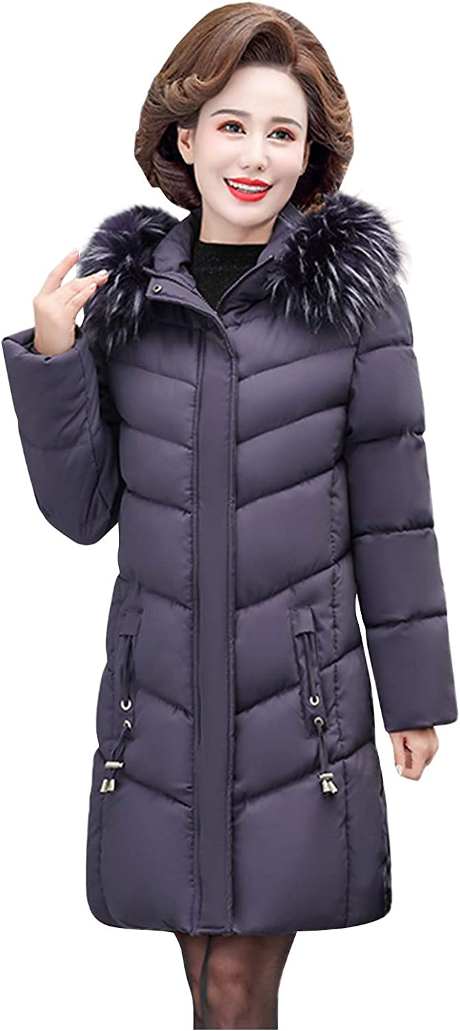 HGWXX7 Womens Down Jacket Plus Size Faux Fur Hood Fashion Coat Winter Zip Up Mid Long Overcoat with Pocket Gifts for Mom Purple