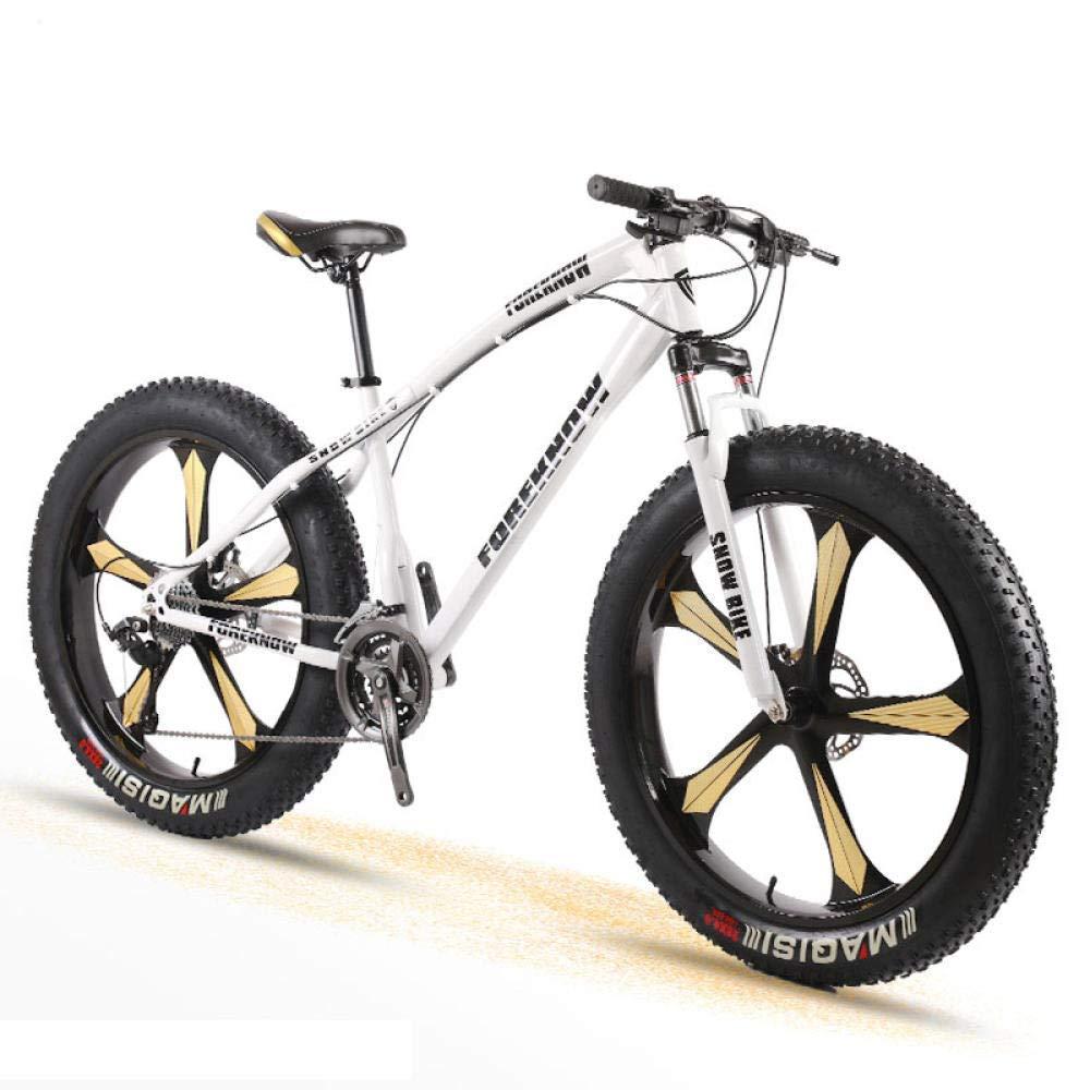 Moto de nieve de bicicletas hombres y mujeres adultos de montaña Cross Country Wide Frenos de disco de neumáticos Velocidad de Estudiantes de choque 26 pulgadas Cinco cuchillo de ruedas Adecuado para: