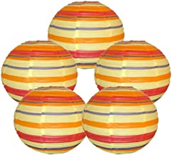 """Just Artifacts 16"""" Color Strips Chinese Japanese Paper Lanterns (Set of 5) - Click for more Chinese/Japanese Paper Lantern..."""