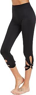 SweatyRocks Women`s Mesh Panel Capri Leggings Workout Yoga Running Crop Pants