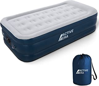 """Premium Twin Size (Single) Air Bed - Elevated Inflatable Air Mattress, Built-in Electric Pump, Raised Pillow & Structured Air-Coil Technology, Height 21"""""""