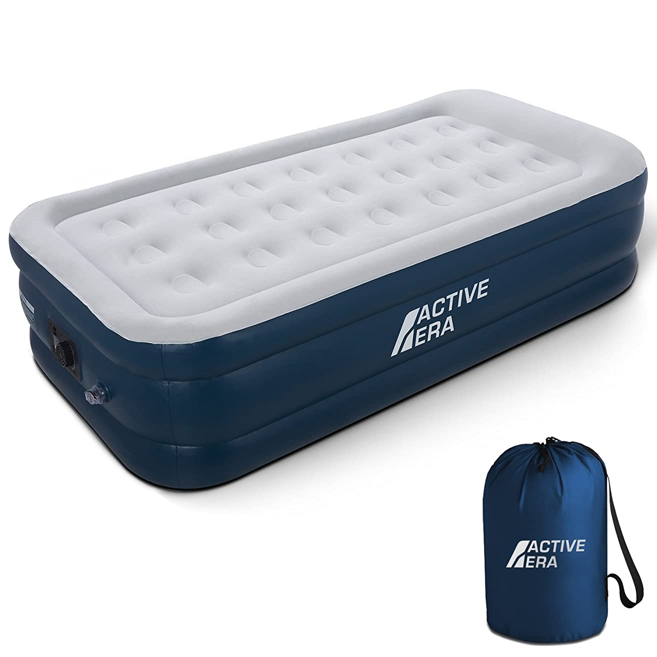 Active Era Premium Twin Size Air Mattress (Single) - Elevated Inflatable Air Bed, Electric Built-in Pump, Raised Pillow & Structured Air-Coil Technology, Height 21