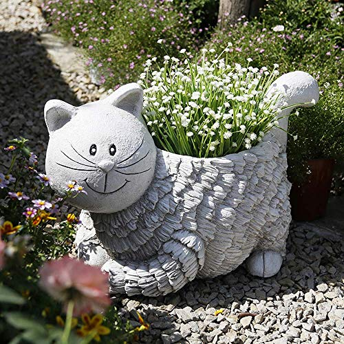 Adornos de jardín Animal Cat Maceta Impermeable Óxido de magnesio Estatua de jardín para jardín Paisaje Césped Decoración Artesanía Regalo - 48 * 24 * 23cm A