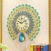孔雀の時計/静かな水晶大きい壁時計の装飾的な壁時計のヨーロッパ式の居間の時計の家-80x74cm (Size : 60X60CM)