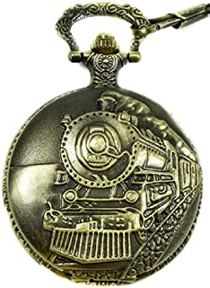 "North American Railroad Approved, Railway Regulation Standard, Train Pocket Watch""150th Aniversary USA"" Japanese Movement""Steam Engine #""1"" (of 5 Watch Collection)"