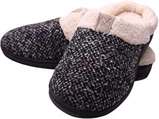 treasure land Men's&Women's Comfy Memory Foam Slippers Wool-Like Plush Fleece Lined House Shoes Slip-on Clog Indoor, Outdoor Anti-Skid Rubber Sole