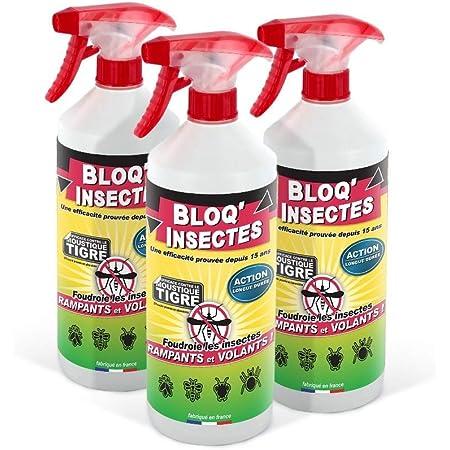 BLOQ'INSECTES Anti Mouche, Anti cafards et Autres Insectes | Barrage aux Insectes Lot de 3 x 1 L | Anti Fourmis et Insect