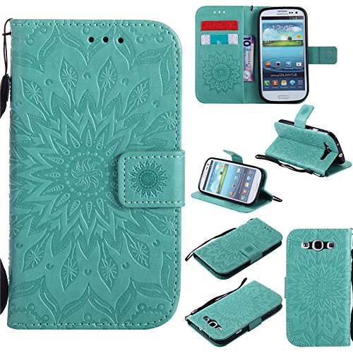 kelman Custodia per Samsung Galaxy S3 / GT-i9300 (4.8') Cover Custodia Case - 3D Fiore Sole Moda PU Pelle Slot per Scheda, Portafoglio, Flip Custodia - [Verde]
