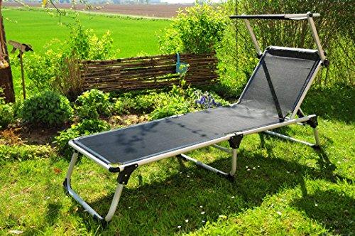 Campingmöbel-Luxus-Liege statt Isomatte, Premium-Gartenliege mit Sonnendach,Strandliege, hochwertig bequem und stabil, große Liegefläche ca. 195 x 62 cm