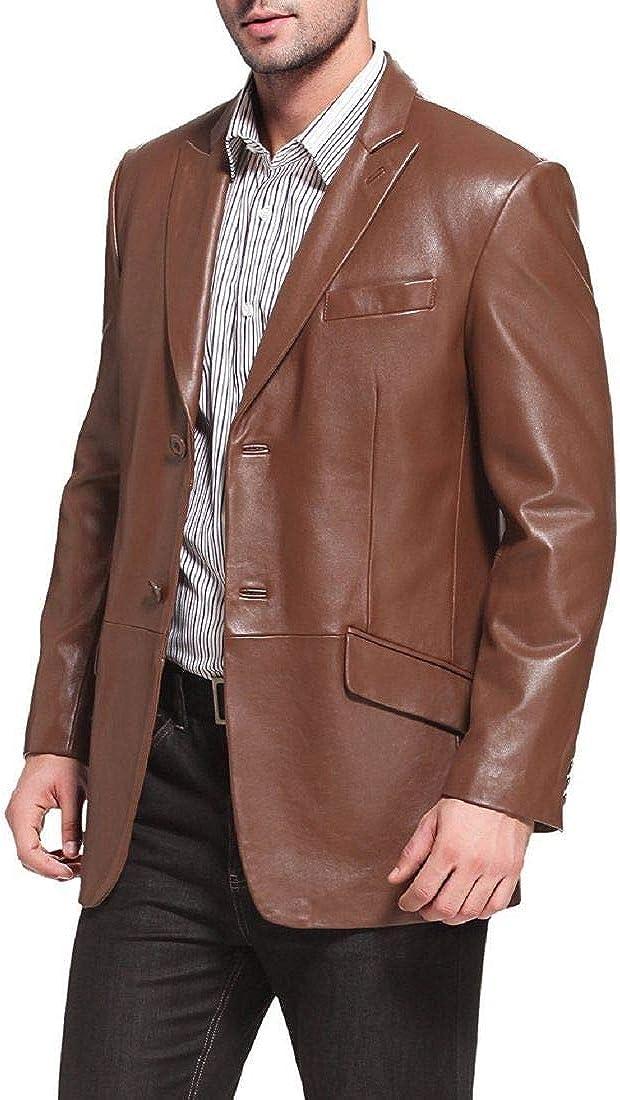 New Fashion Style Men's Classic Leather Blazer Lambskin Sport Coat Jacket Slim Fit Casual Blazer Jacket (Brown)