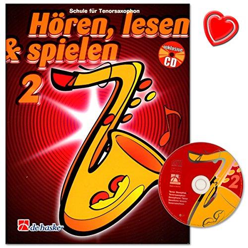 Hören, Lesen and Spielen Band 2 für Tenorsaxophon - individuelle Bläserschule von Jaap Kastelein und Michiel Oldenkamp - mit CD und bunter herzförmiger Notenklammer