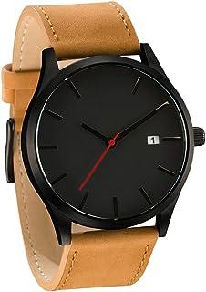IEason,Popular Low-key Minimalist Connotation Leather Men's Quartz Wristwatch (C)