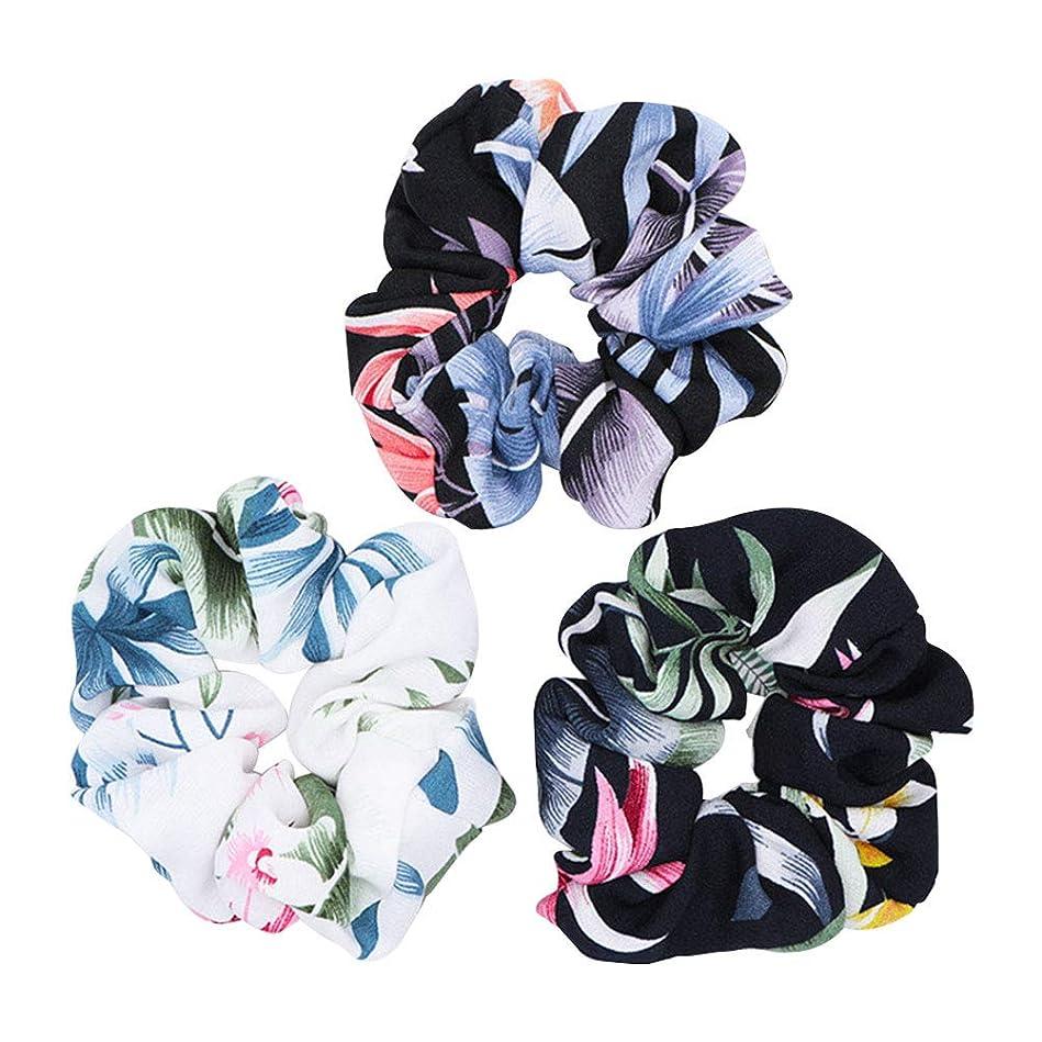 アサー調和のとれた入場料3ピースフラワープリントストレッチヘアネクタイ布アートシフォンヘアロープポニーテールホルダーヘアアクセサリー用女性女の子(ホワイト+ブラック+カラフル)
