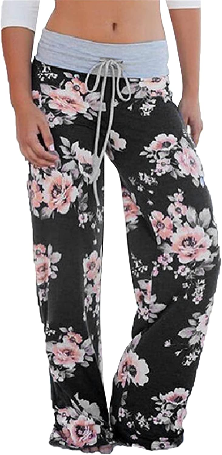 Women's Printed Wide-Leg Pants Comfy Stretch Floral Print Drawstring Lounge Trousers Casual Stretchy Casualpants (Large,Black 5)