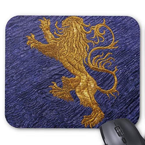 Alfombrilla de ratón Redonda de Goma Antideslizante, diseño de Juego (20 x 24 cm), diseño de león Rampante en Azul