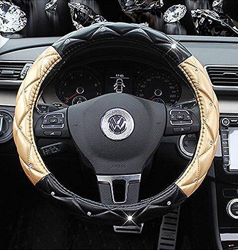Follicomfy Leather Auto Car Steering Wheel Cover,Anti Slip Comfort Elegant Universal 15 Inch,Black&Gold