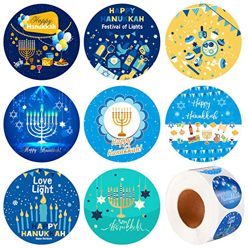 Elcoho 600 Pieces Happy Hanukkah Stickers Holiday Menorah Labels Stickers Round Hanukkah Themed Seal Stickers for Holiday Decorations