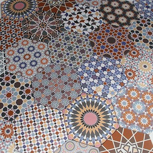 Casa Moro Marokkanische Keramikfliesen Chakib Patchwork Fliesen 32,8x28,5 cm sechseckig bunt aus Feinsteinzeug | Schöne orientalische Dekoration für Bad Flur Küche & Küchenrückwand | FL6020