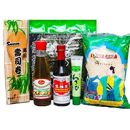 Sushi Starter Set 6 teilig + Gratis Reislöffel - Pamai Pai® - Wasabi Nori