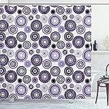 ABAKUHAUS Púrpura y Negro Cortina de Baño, Mandala, Material Resistente al Agua Durable Estampa Digital, 175 x 200 cm, Violeta Negro Blanco