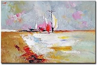 SANSNMI 100% Handmade Modern Abstract Wall Art Canvas A Sailboat Moored At The Seashore Oil Paintings For Living Room No F...