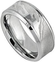 9mm Tungsten Carbide Laser Carved Wood Pattern Mokume Gane Effect High Polished Low Beveled Edge Wedding Band Ring