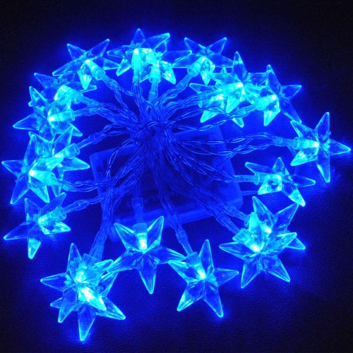 JnDee Blue Star Battery Powered LED Fairy Lights 2M 20LED - ON/Off/Flash Functions, Perfect for Christmas Wedding and Parties