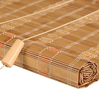Bamboo Charcoal Roller Blinds with Valance, Blackout Shading Roll up Blinds for Windows Doors, Width 50-140cm, High 100-260cm (Color : Flat Curtain, Size : 140×240cm)