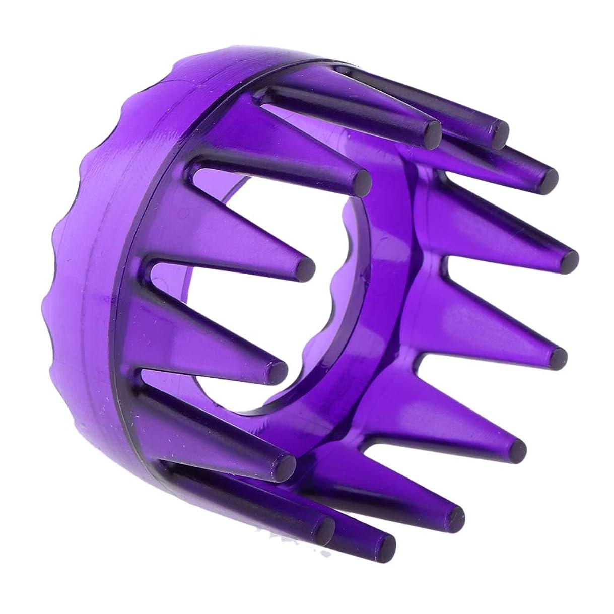 アフリカキリン進化するB Blesiya 頭皮マッサージ シャワー シャンプー ヘアブラシ マッサージャー櫛 ユニセックス 4色選べ - 紫
