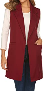 Showyoo Women's Long Sleeveless Duster Trench Vest Casual Lapel Blazer Jacket
