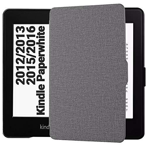 EasyAcc Custodia per Kindle Paperwhite - con Sonno/Sveglia la Funzione Compatibile con Kindle Paperwhite 2012/2013/ 2015, Grigio (Non è Compatibile con la Versione 2018 di Kindle Paperwhite)