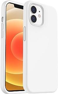 ORNARTO Silikon Hülle kompatibel mit iPhone 12 Case und iPhone 12 Pro Case 6,1, Verstärkte Stoßfeste Flüssige Silikon Gel Gummi Ganzkörper Schutz Stoßstange Abdeckungs Handyhülle Weiß