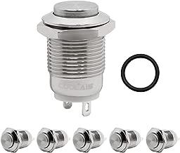 Coolais 5 Pcs Momentary Push Button Switch Metal Waterproof Push Button Start 12mm 3A 250V AC PBSM-02 (High Head)