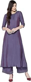 INDO ERA Women's Polyester A-Line Kurta Set With Palazzos (Purple)